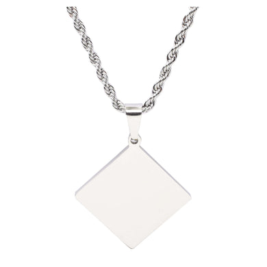 Stainless Steel Diamond Tag Necklace