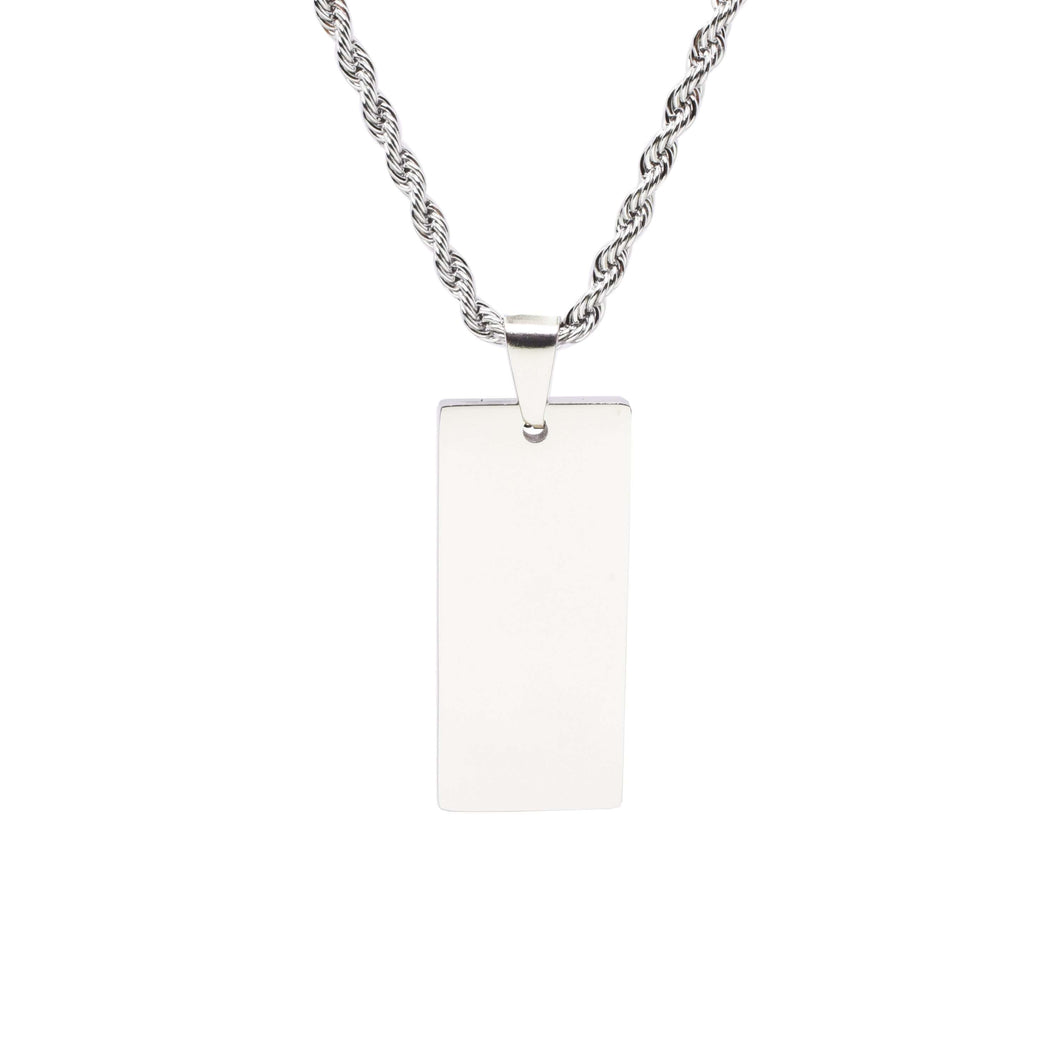Stainless Steel Rectangle Tag Necklace