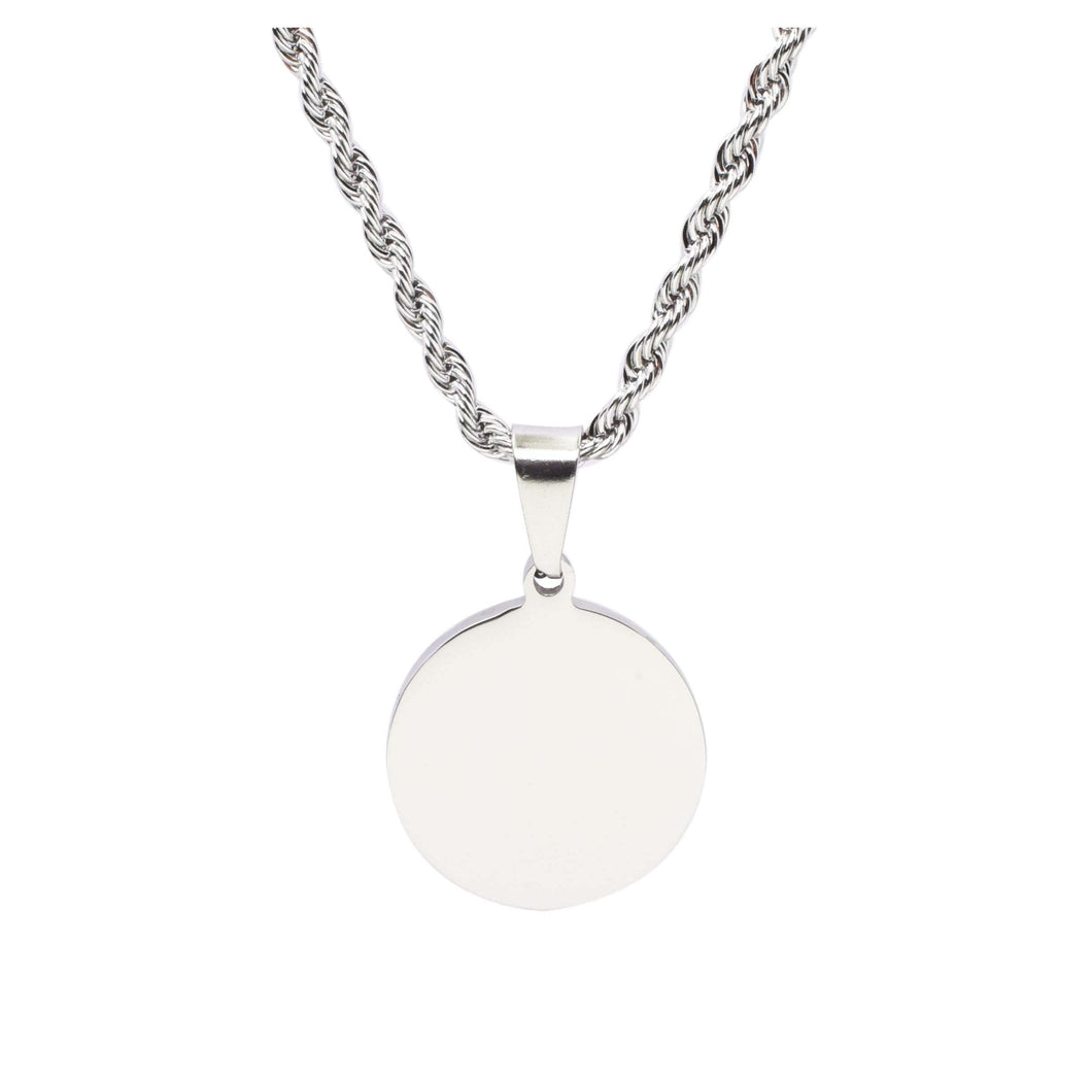 Stainless Steel Round Tag Necklace