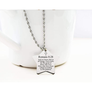 Star Tag Scripture Necklace By Pink Box