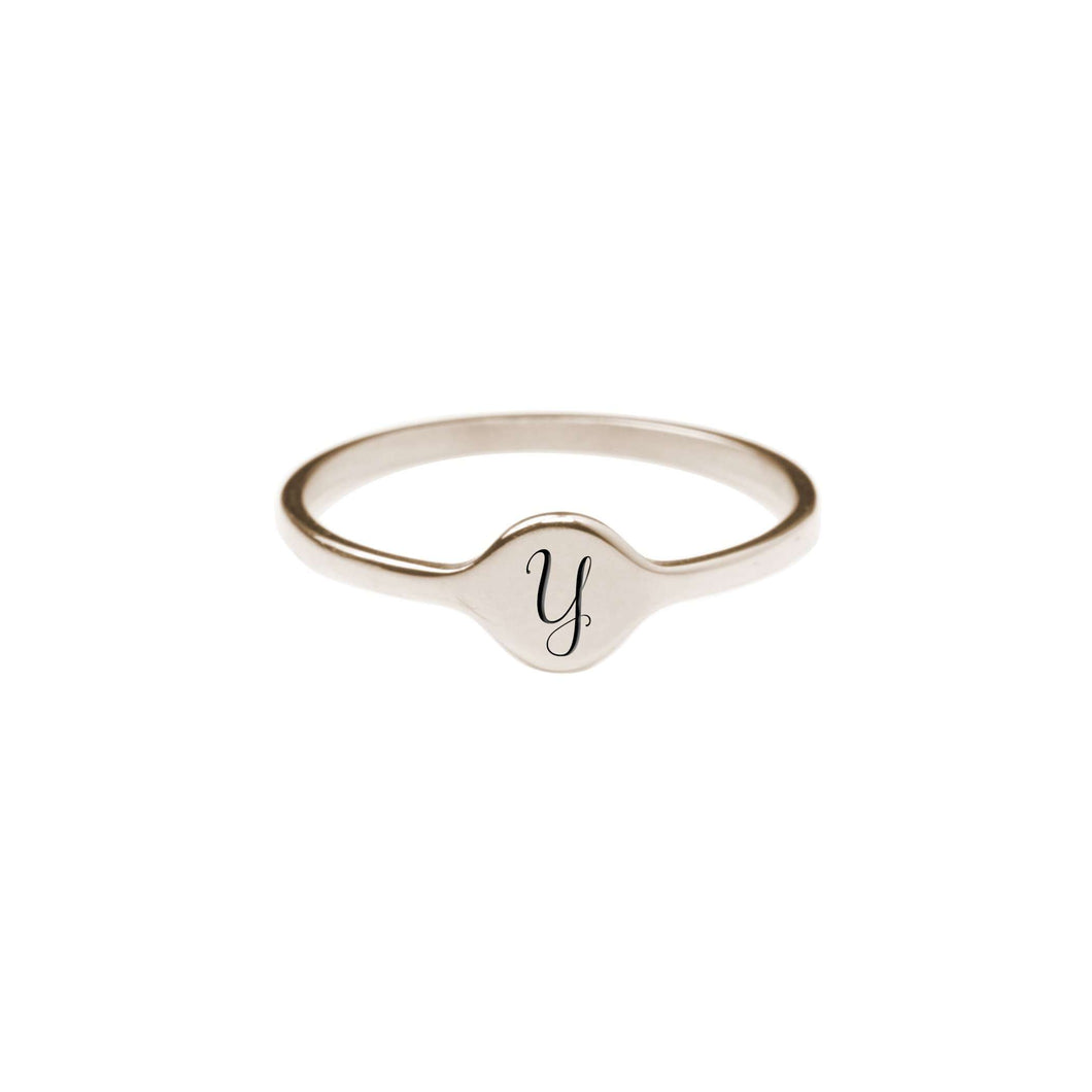 Y Comfort Fit Initial Mono Ring