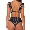 White Black Polka Dot Ruffled High Waist Bikini