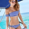 White Blue Striped Bandeau Off Shoulder Bikini