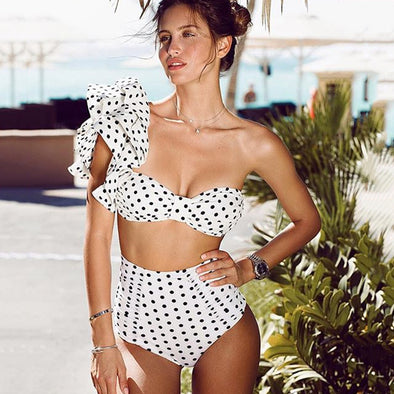 One Shoulder Ruffle Polka Dot High Waist Bikini