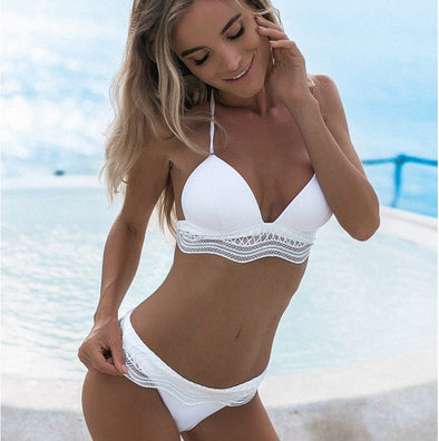 Sexy White/Black Ruffle Lace High Waist Bikini