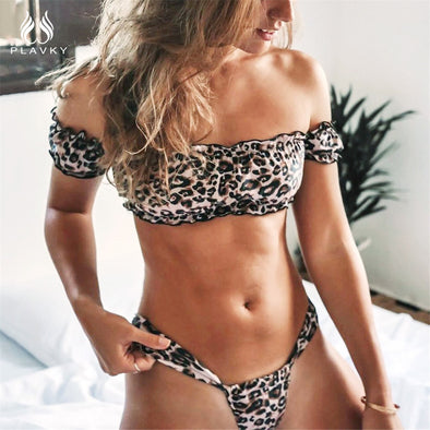 Lovely Off Shoulder Ruffled Bandeau Leopard Bikini