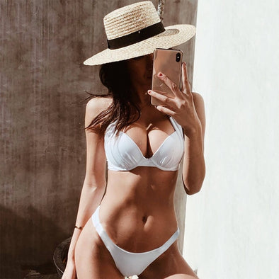 Sexy Halter White Brazilian Super Push Up Bikini