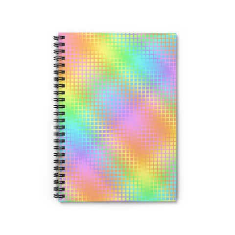 Rainbow Grid Spiral Notebook - Ruled Line