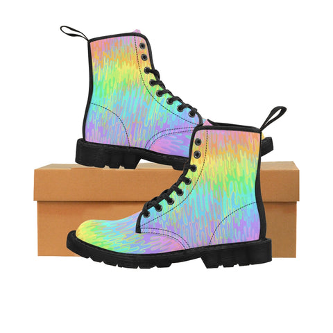 Rainbow Melt Men's Canvas Boots