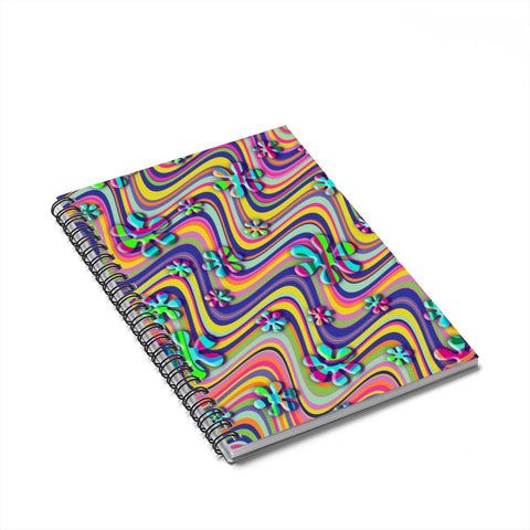 Wavy Daisy Spiral Notebook - Ruled Line