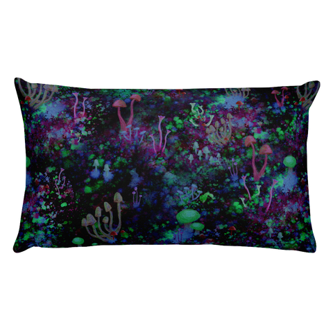 Midnight Mushrooms Rectangular Pillow