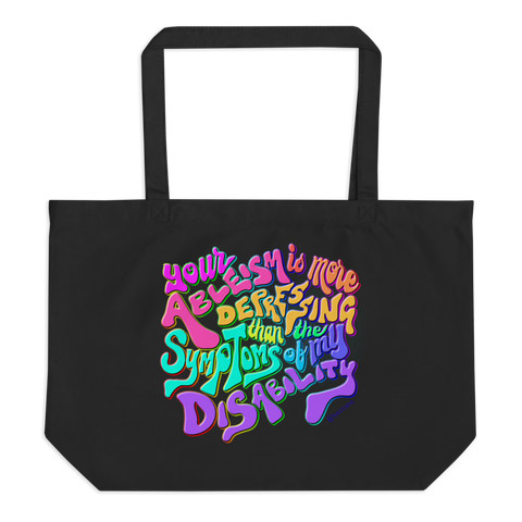 Ableism Rainbow Letters Large organic tote bag