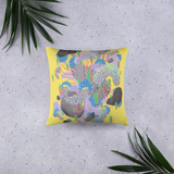 Yellow Organism Square Pillow