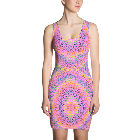 Rainbow Stoned Sublimation Cut & Sew Bodycon Dress