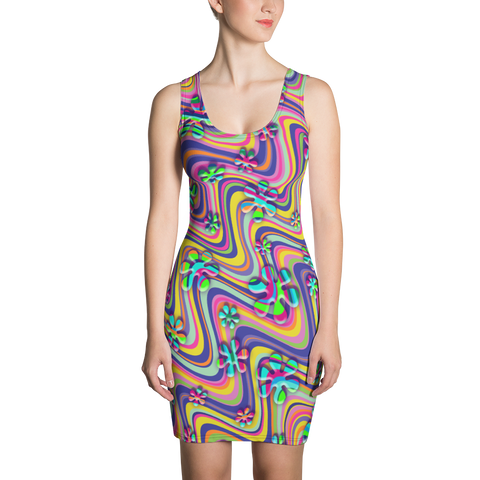 Wavy Daisy Sublimation Cut & Sew Dress