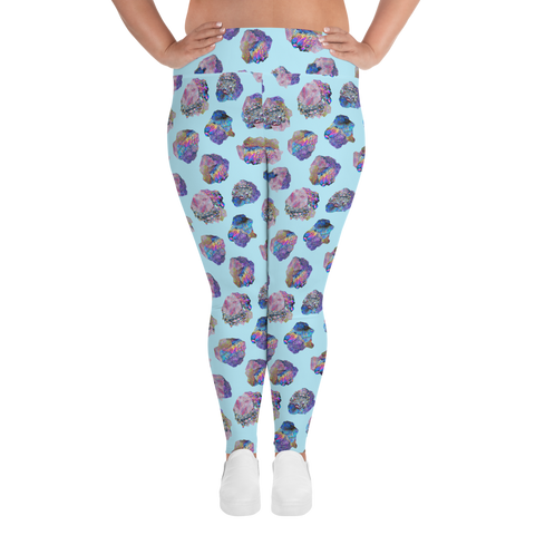 Blue Crystal Cluster Plus Size Leggings