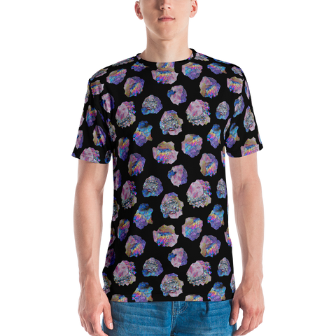 Black Crystal Cluster Masc Style T-shirt