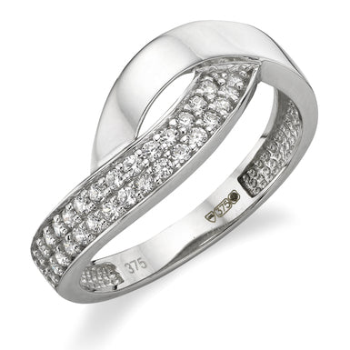 Beaverbrooks 9CT White Gold Cubic Zirconia Ring-New in Box