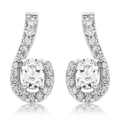 Beaverbrooks - 9CT - White Gold Cubic Zirconia Earrings