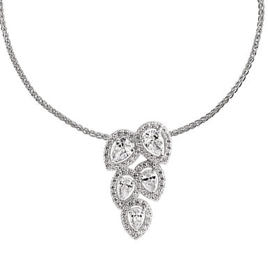 Beaverbrooks Silver Cubic Zirconia Diamonfire Halo Necklace-New in Box