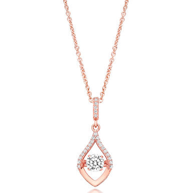 Beaverbrooks Silver Rose Gold Cubic Zirconia Drop Pendant-New in Box