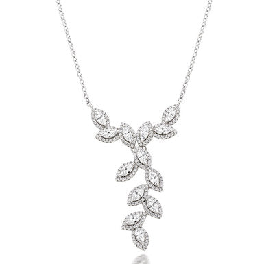 Beaverbrooks Silver Cubic Zirconia Marquise Halo Cascade Necklet- New in Box
