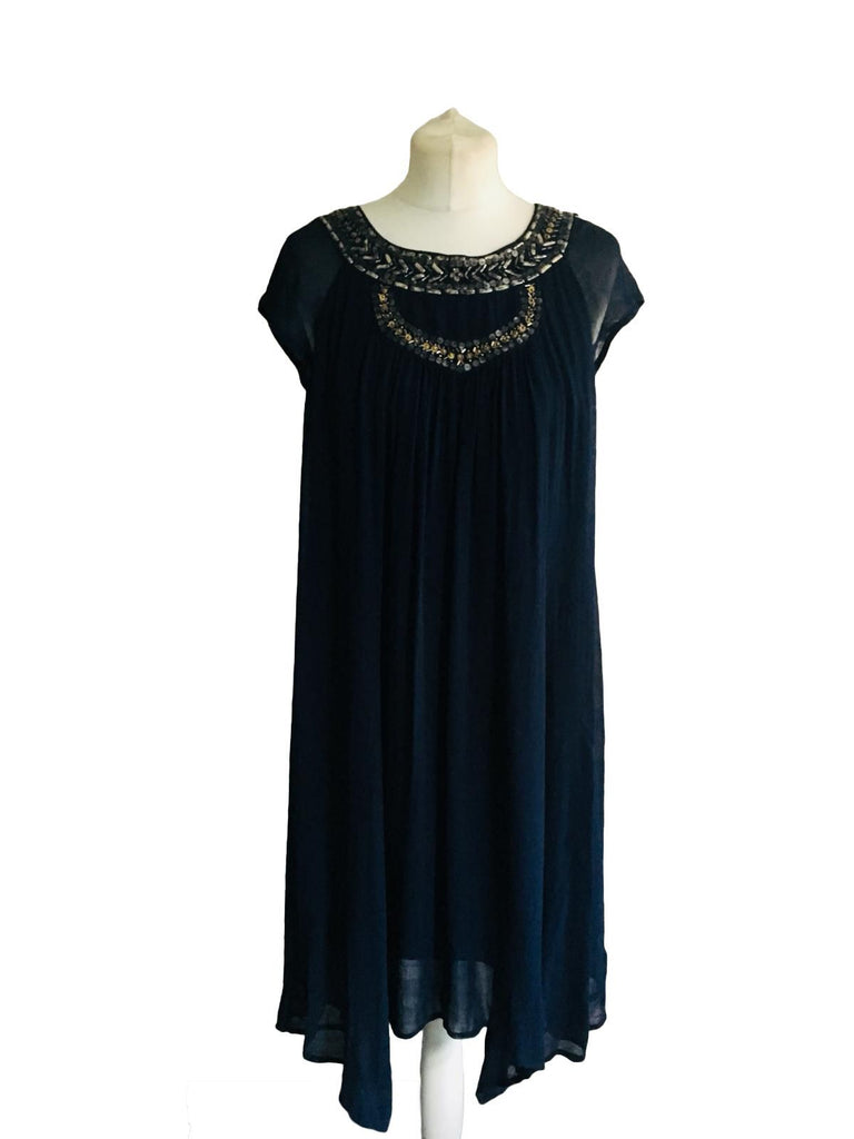 Monsoon Sleeveless Blue Dress - Size M - Preloved