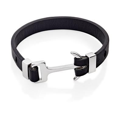 Beaverbrooks Black Leather Anchor Men's Bracelet - New in Box