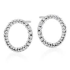 9CT White Gold Crystal Circle Stud Earrings from Beaverbrooks- New in Box