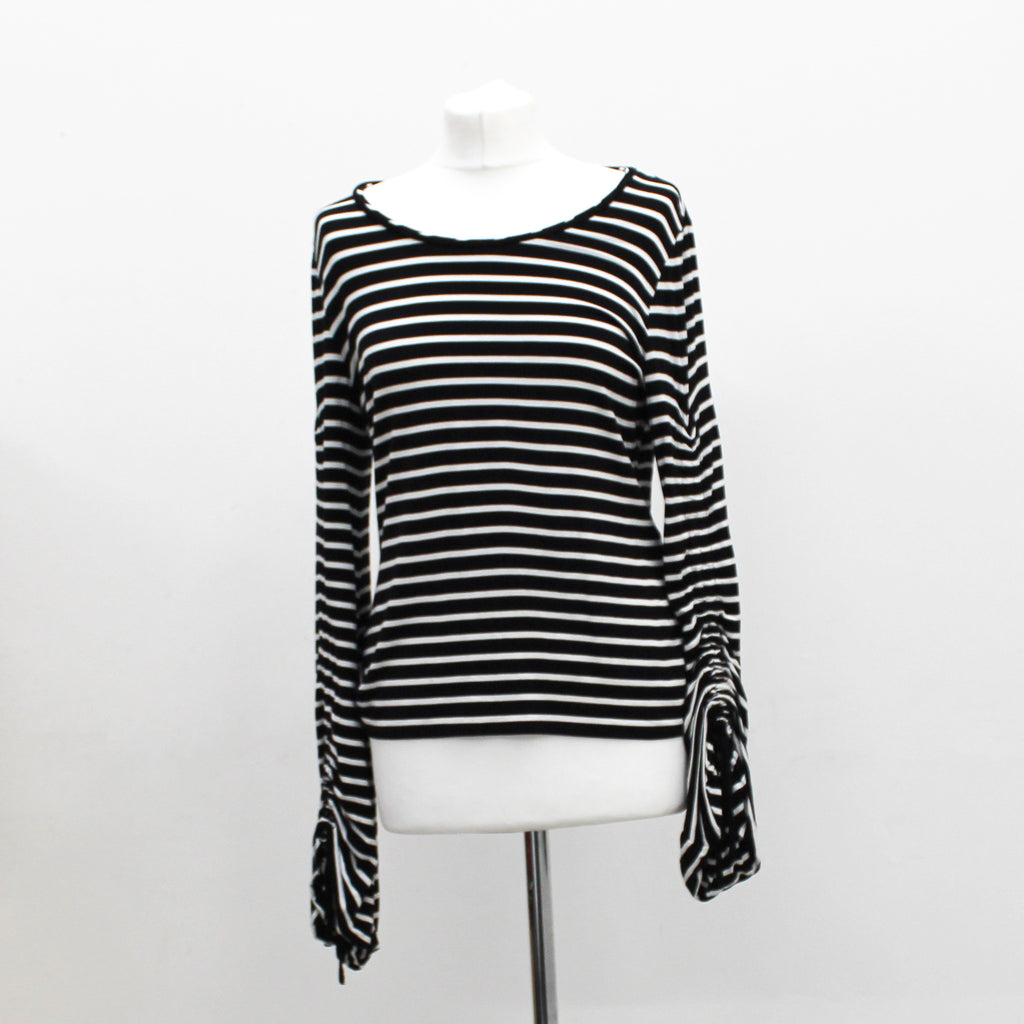 Karen Millen White/black striped top - Size 14