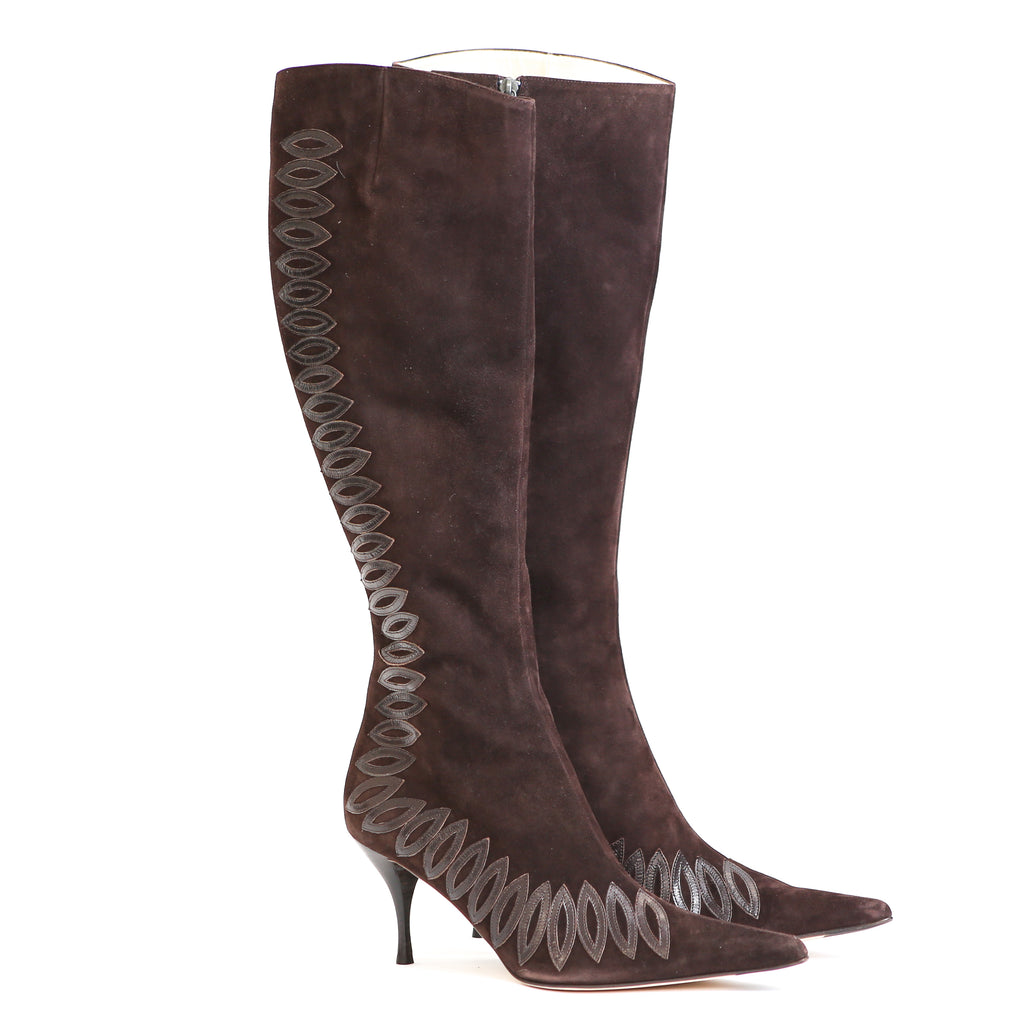 Amanda Wakeley Long Brown Suede Boots UK 7 - EU Size 41 - NEW