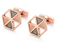 Beaverbrooks - MENS- Rose Gold Plated Carbon Fibre Cuff Links -New