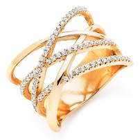 Beaverbrooks Silver Rose Gold Plated Cubic Zirconia Wrap Over Ring
