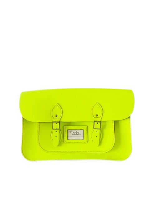 The Leather Satchel Co Dayglow Yellow -   14 Inch - New