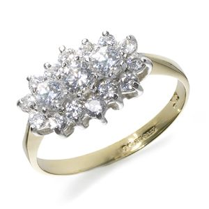 Beaverbrooks 9 CT  Yellow Gold Cubic Zirconia CLUSTER RING - New - Size K