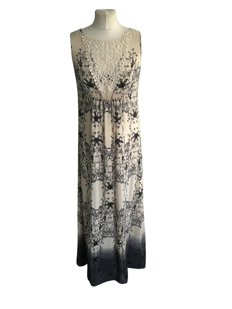 Mint Velvet Sleeveless Pattern Long Dress - Size 10 - Preloved