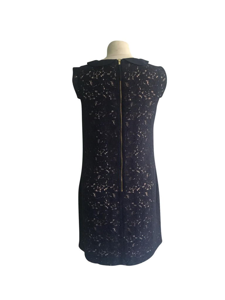 Oasis Blue Lace Effect Sleeveless Dress - Size 10 - Preloved