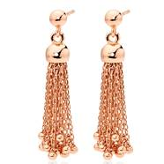 Silver Rose Gold Plated Tassel Drop Earrings from Beaverbrooks- New in Box