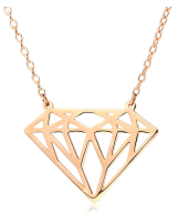 9CT Rose Gold Diamond Shaped Necklace- New