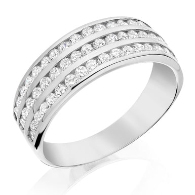 Beaverbrooks 9CT White Gold Three Row Cubic Zirconia Ring