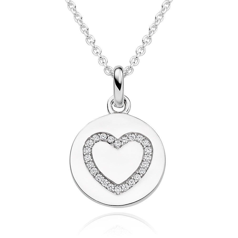 Beaverbrooks Silver Cubic Zirconia Heart Pendant - New in Box