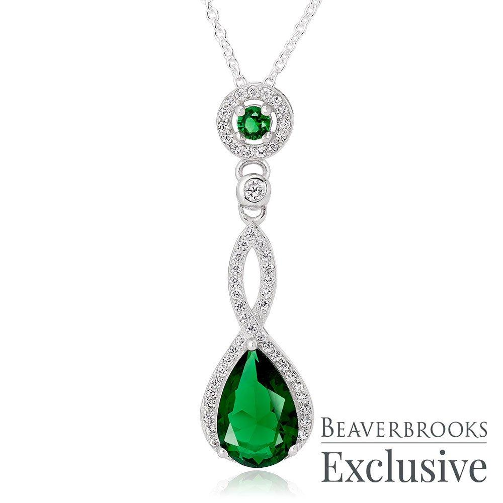 Beaverbrooks silver Green Halo Pendant - New in Box