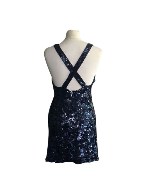 French Connection Sequin Blue Dress - Size 8 - Preloved