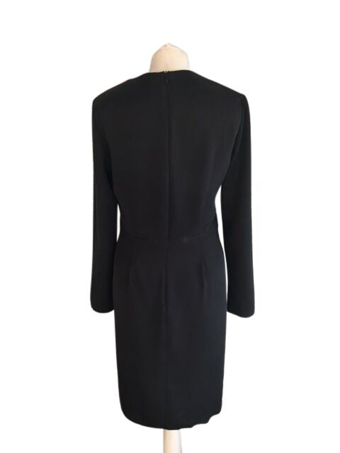 Tara Jarmon Black Robe Silk Dress - Size EU 40 - UK 12 - Preloved