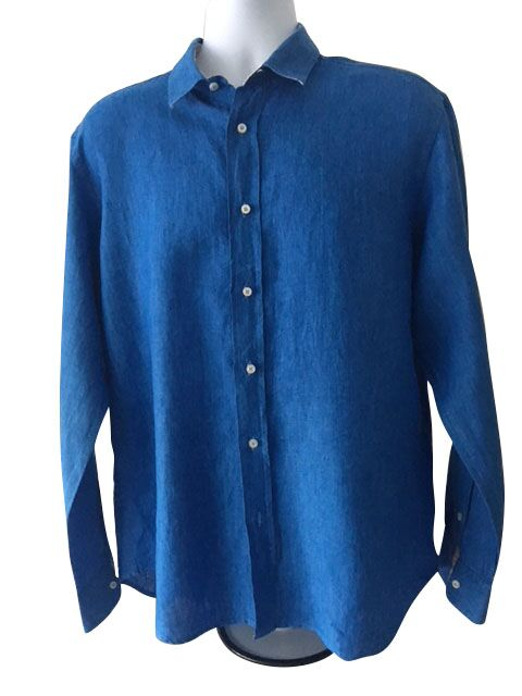 Mario Romano Linen Long Sleeved Shirt  - Size XL - Preloved
