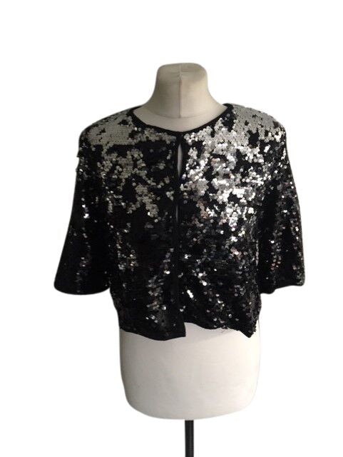 Sweewe Black Silver Sequin Ladies Top - Size Large - Preloved
