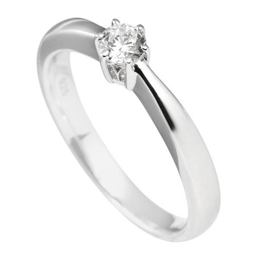 Beaverbrooks Diamonfire Silver Cubic Zirconia Solitaire Ring - New - Size - L