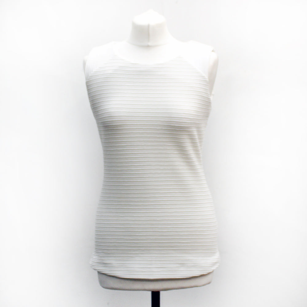 John Lewis Collection White Ribbed Sleeveless Top -Medium