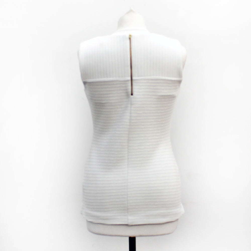 John Lewis Collection Ribbed White Sleeveless Top - Small
