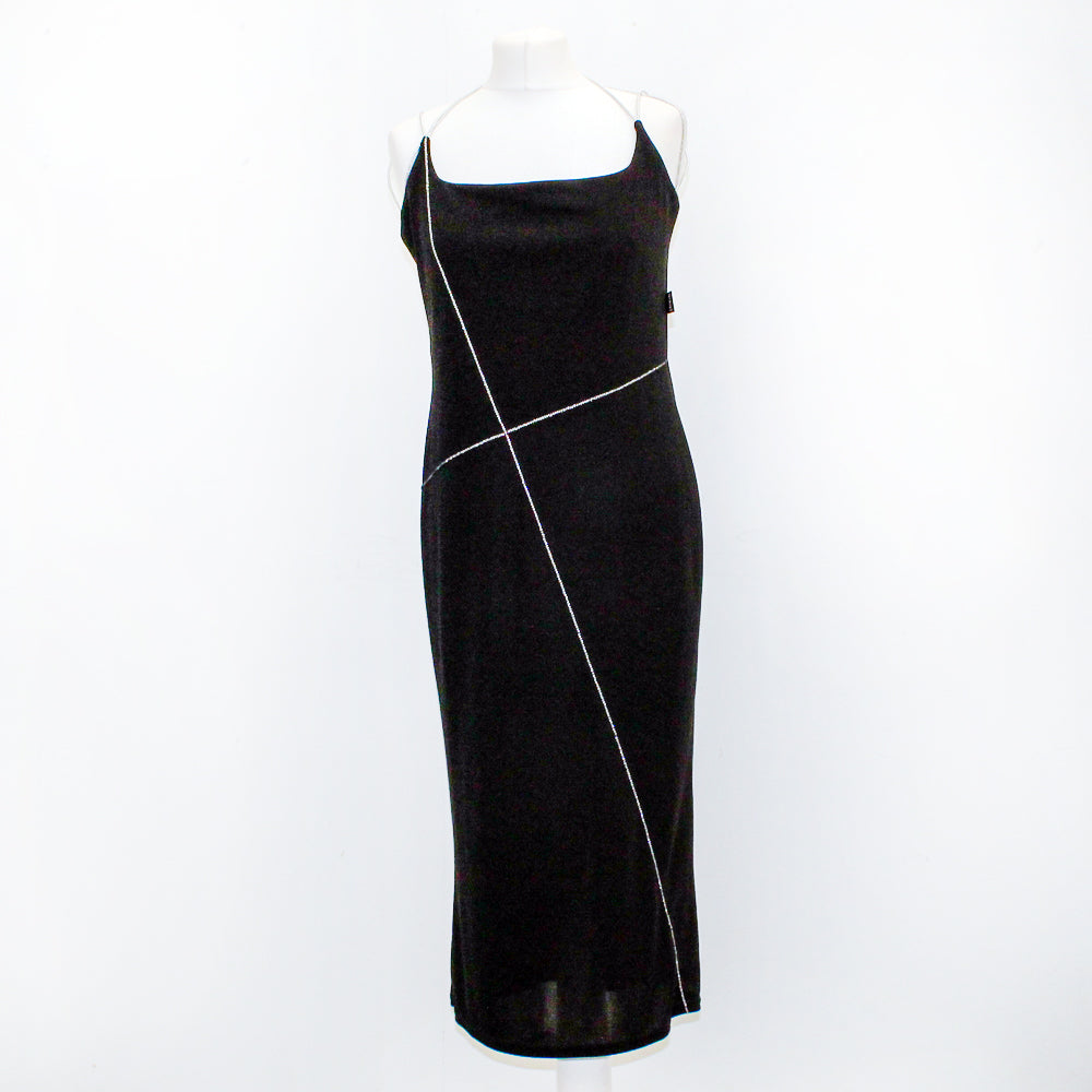 Giant Black Dress With Silver Strap - Size 14 - Worn